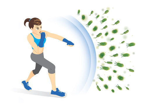 Healthy woman reflect bacteria attack with punching. Concept illustration about boost Immunity with Exercise.