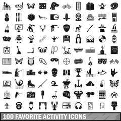 100 favorite activity icons set in simple style for any design vector illustration