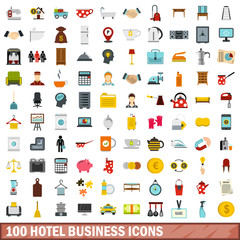 100 hotel business icons set in flat style for any design vector illustration