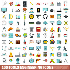 100 tools engineering icons set in flat style for any design vector illustration