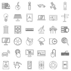 Technology icons set. Outline style of 36 technology vector icons for web isolated on white background