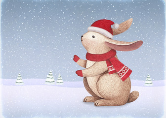 A watercolor illustration of the bunny. Perfect for Christmas greeting cards