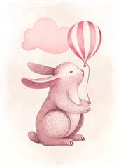 A watercolor illustration of the cute bunny. Perfect for greeting cards