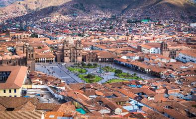 Panoramisch uitzicht op het historische centrum van Cusco, Peru