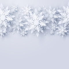 Vector Christmas and new year holidays background with realistic looking paper craft snowflakes. Seasonal wishes Merry Christmas and Happy New Year greeting card