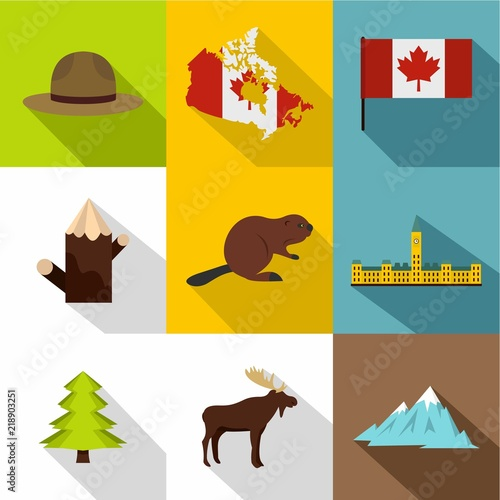 Flat style set of 9 landmarks of Canada vector icons for web design 8344efa57c18