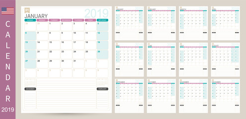 English calendar 2019 / English calendar planner 2019, week starts on Sunday, set of 12 months January - December, simple calendar template, set desk calendar template, vector illustration