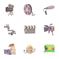 Movie icons set. Cartoon set of 9 movie vector icons for web isolated on white background