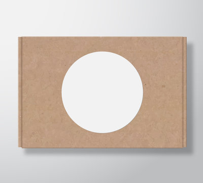 Craft Cardboard Box Container with Clear White Round Label Template. Realistic Carton Texture Packaging Mock Up with Soft Shadow.