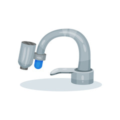 Flat vector icon of gray metal kitchen faucet with water filter. Modern filtration system. Device for purification liquid