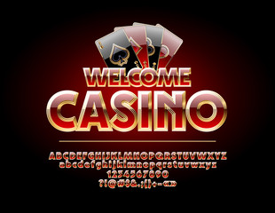 Vector Chic Sign Welcome Casino. Set of Red and Gold Letters, Numbers and Symbols.