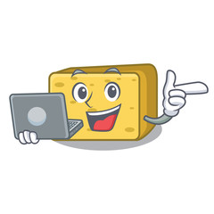 With laptop gouda cheese character cartoon