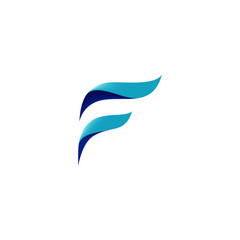 Letter F Feather Wave Logo