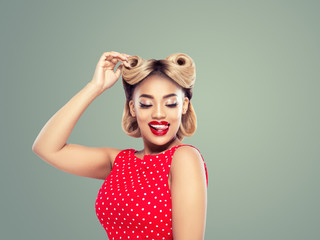 Pin up vintage woman beauty portrait mulatto african girl