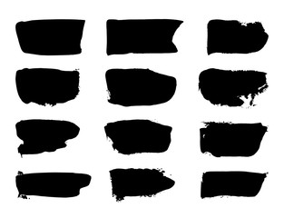 Vector black paint, ink brush stroke, brush, line or texture. Grunge Paint stripe. Vector brush Stroke. Black isolated paintbrush collection. Dirty artistic design element, frame, background for text.