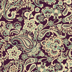 Paisley and ethnic flowers seamless vector pattern. floral vintage background
