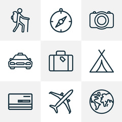 Traveling icons line style set with suitcase, photo camera, cab and other canopy