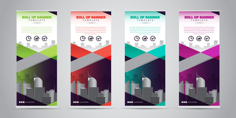 Business Roll Up Banner. Standee Design. Banner Template. 4 Various Color Set - Vector illustration