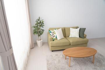 インテリア、リビング、窓、ソファ、クッション、観葉植物