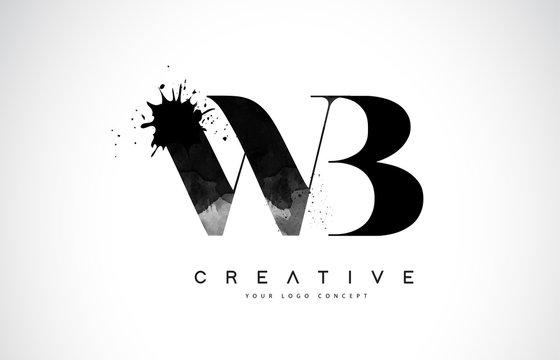 WB W B Letter Logo Design with Black Ink Watercolor Splash Spill Vector.