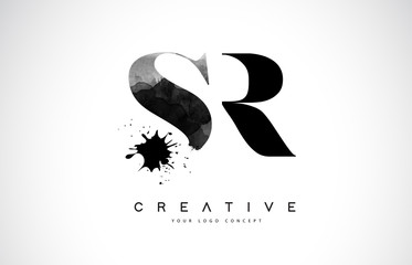 SR S R Letter Logo Design with Black Ink Watercolor Splash Spill Vector.