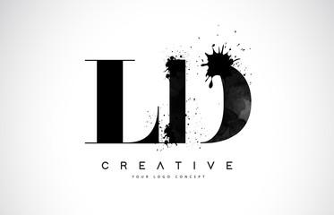 Fototapeta LD L D Letter Logo Design with Black Ink Watercolor Splash Spill Vector. obraz