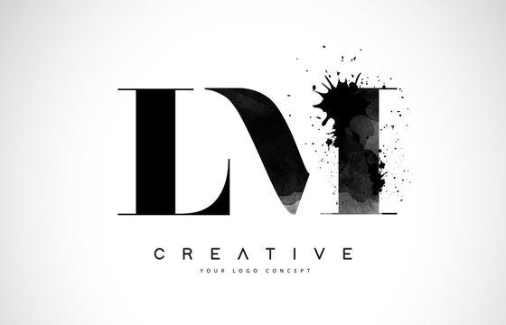 LM L M Letter Logo Design with Black Ink Watercolor Splash Spill Vector.