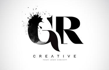 GR G R Letter Logo Design with Black Ink Watercolor Splash Spill Vector.