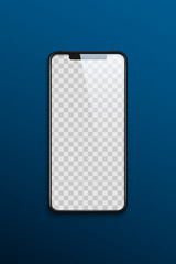 Phone mock up with transparent screen on blue background. Vector template.