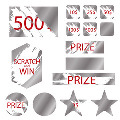 Scratch Games Cards with Effects Scrape. Vector