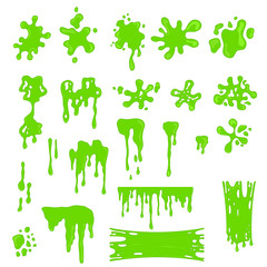 Green Slime Effects Different Types Set. Vector