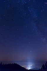 starry sky in the mountains