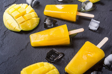 Homemade mango popsicle