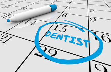 Dentist Appointment Teeth Cleaning Day Circled Calendar Date 3d Illustration