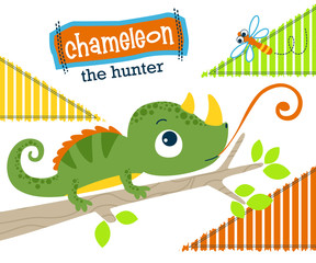 Vector illustration of chameleon cartoon