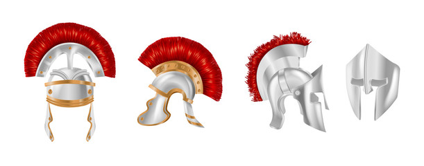 Realistic silver metal helmets in different angles. Spartan helmets.