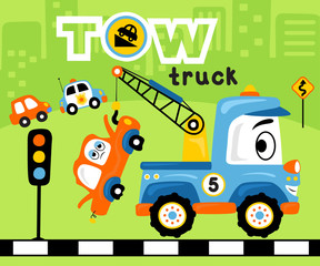 Vector illustration with funny tow truck cartoon