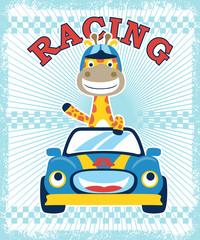 Vector illustration of happy giraffe cartoon on funny race car