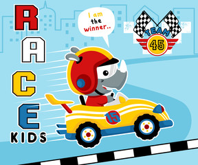 Vector illustration with car racing cartoon