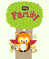 Vector illustration of owl family cartoon on the tree