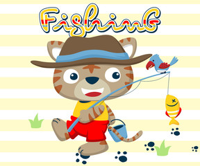 Vector illustration of fishing time with funny fisher