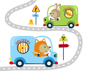 Vector illustration of delivery car with funny driver animals cartoon