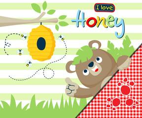 Vector illustration of baby bear cartoon