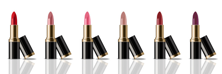 Lipstick set Vector realistic. Product packaging mock up. colorful collection templates