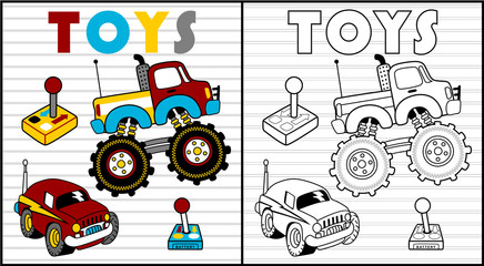 Coloring book vector with kids toys cartoon