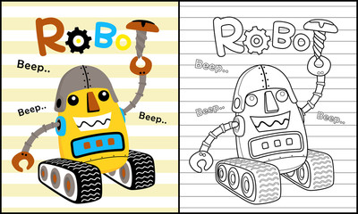 Coloring book vector with vehicle robot cartoon