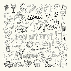 Restaurant Doodle Set. Hand Drawn Vector Illustration. Pencil Ink Drawing. Bon Appetit Food Collection