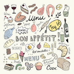 Restaurant Doodle Set. Hand Drawn Vector Illustration. Pen Ink Drawing. Bon Appetit Food Collection