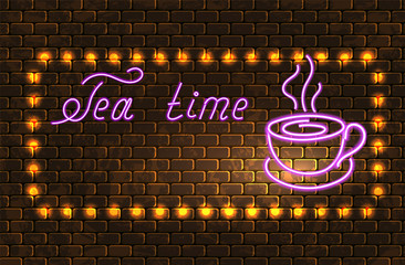 """Neon signboard with tea cup and inscription """"Tea time"""" on brick wall for advertising cafe in retro style"""