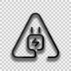 Electric power plug in warning triangle. Simple linear icon with